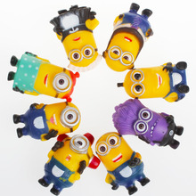 Despicable Me 2 Small Yellow Man Doll Animation 8PCS/lot Fashion Cartoon Cute 3D Eye Mini Moive Star Figure Toys Kids Doll