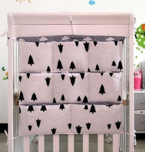 Promotion! Kitty Mickey 62*52cm 100% cotton baby crib organizer for nappy toy baby cot hanging bag for bedding set