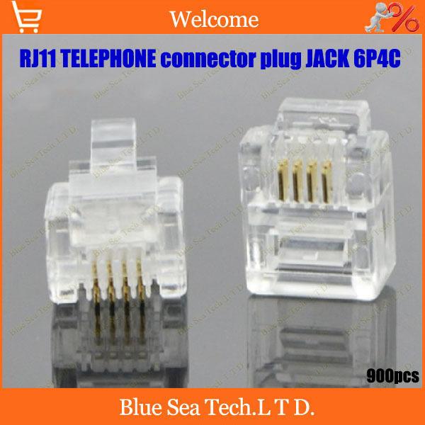 Здесь можно купить  RJ11 telephone connector plug module Jack 6P4C phone Crystal Head 2-4core common use Free Shipping  Электротехническое оборудование и материалы