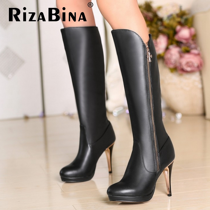 Фотография Free shipping over knee natural real genuine leather high heel boots women snow long warm shoes R4636 EUR size 31-45