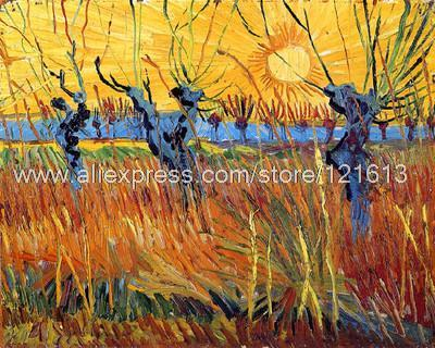 Gogh Van Vincent Pollard Willow With Setting Sun Acrylic Landscapes Large Canvas Wall Art Abstract Restaurant Backgro(China (Mainland))