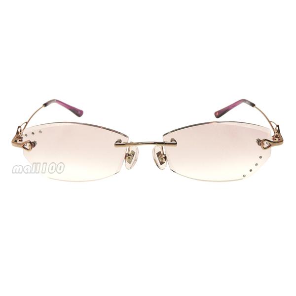 Rimless Gold Frame Rhinestone Inlaid Coating Lens Reading Glasses Women +100+150+200 +250 +300 +350 +400(China (Mainland))