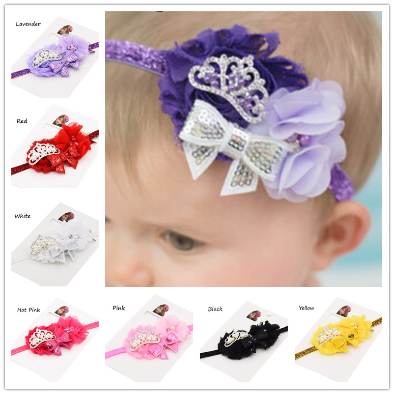 1pcs Cute Princess Flower Headband Little Girls Hair Bow Baptism Gift Christmas Gift Headwear baby hair bows and headbands(China (Mainland))