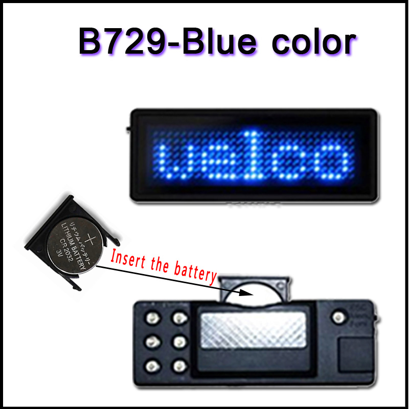 B729B blue color Scrolling led name tag LED display screen business card led badges led panels Signs(China (Mainland))