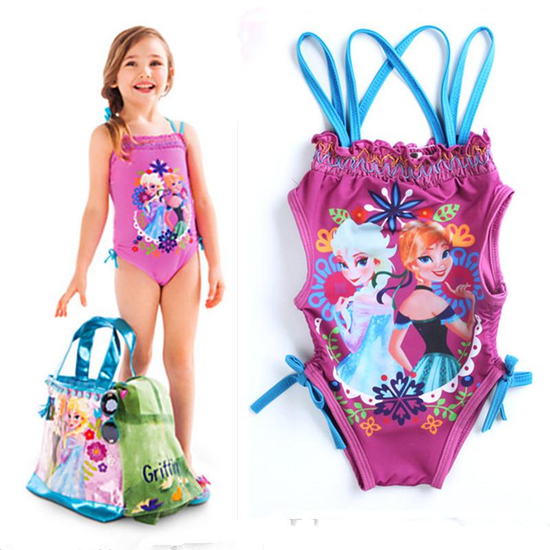 Girls Swimwear Anna Elsa Swimsuit Girl One Piece Kids Swimwear Toddler Bathing Suit Cartoon Princess Children Swim Wear(China (Mainland))