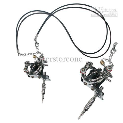 Top Grade Mini Silver Stainless Steel Tattoo Machine Gun Pendant Jewelry Hot Sale Free Shipping(China (Mainland))