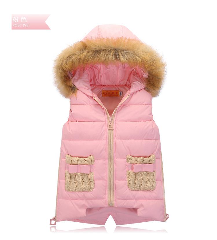 Скидки на Большие девочки 2016 новых осенью и зимой в теплый пуховик жилет дети с капюшоном вниз жилет специальное предложение