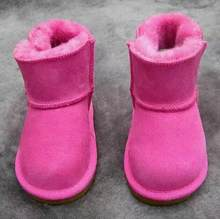 Kış Avustralya Bebek Kız Kar Botları Sıcak Koyun Derisi Deri Kürk Bebek Botas Su Geçirmez Bebek Önyükleme Erkek Bootie Ayakkabı Olmayan kaymaz(China)
