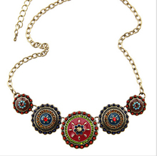 Charming Bohemia Style Enamel Beads Flowers Choker Chains Statement Necklace Ethnic Vintage Jewelry For Women(China (Mainland))