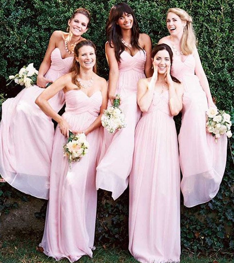 Robe rose longue pastel pour demoiselle d'honneur