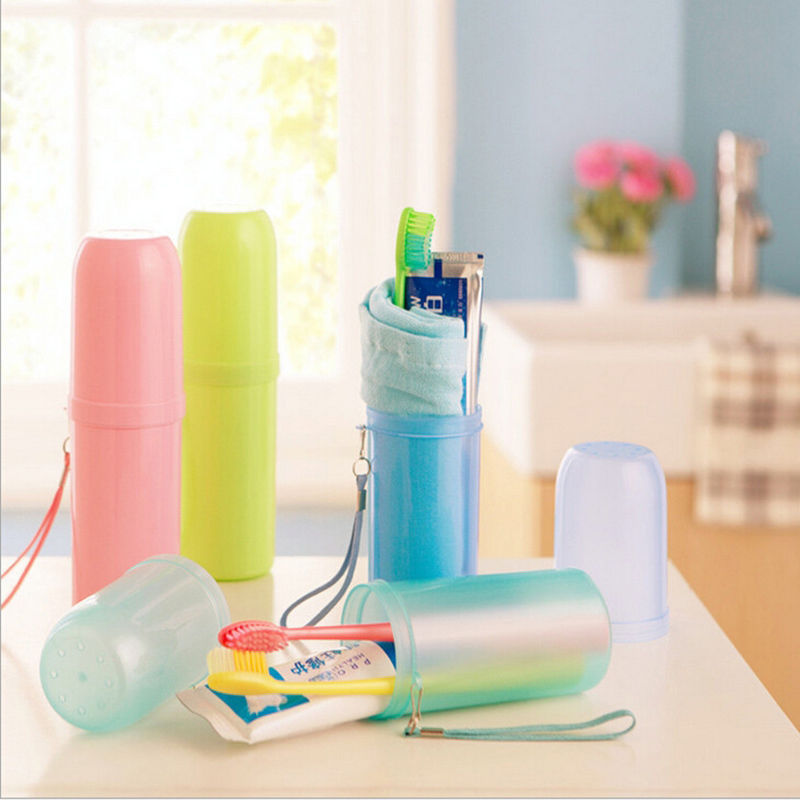 1 x Utility Toothbrush Holder Tooth Mug Toothpaste Cup Bath Travel Accessories Set 4 Colors(China (Mainland))