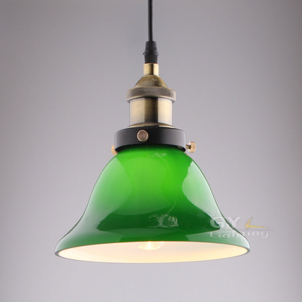 Modern brief glass industrial pendant light green lampshade lamp fixture for bar warehouse vintage america style(China (Mainland))