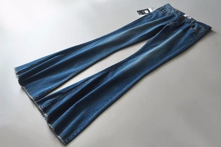 Скидки на Мода нового прибытия темно-синий эластичный середине низкой талией полная длина slim fit тощие джинсы flare брюки джинсы для женщин