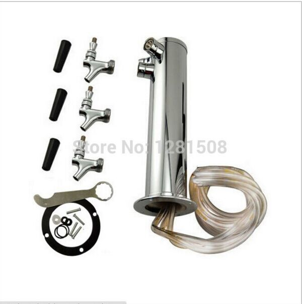 Super quality stainless steel Triple beer tap , Chrome Triple Faucet Draft Beer Tower stainless steel body with brass beer tap