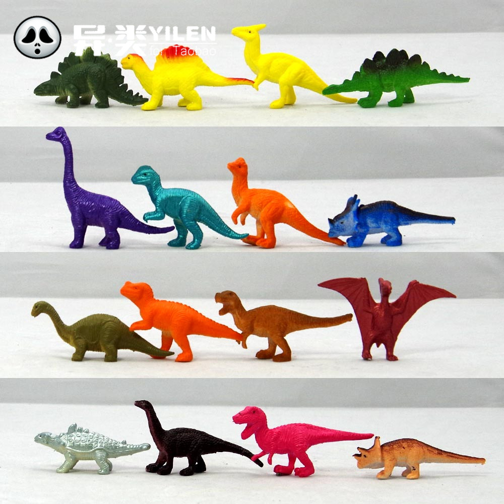 Dinosaurs model set 16 lovely plastic static animals decoration gifts toys for children Mini color small Jurassic World(China (Mainland))