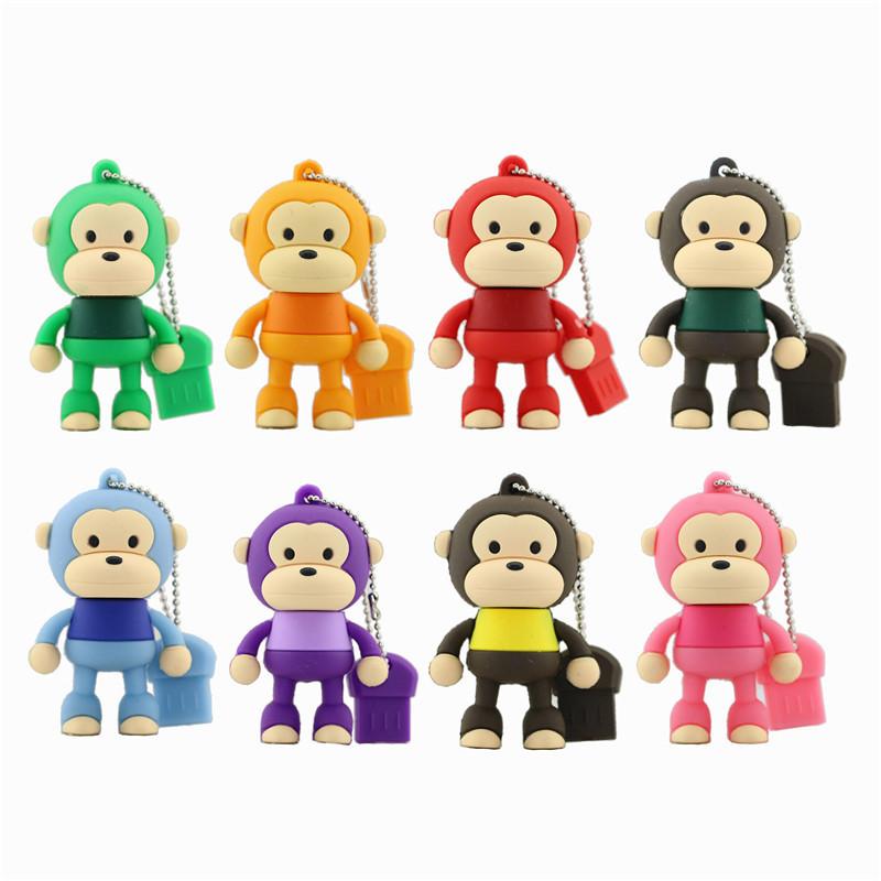 Free Shipping Cute Monkey USB Pen Drive 32GB USB 2.0 USB Flash Drive Flash Memory Pendriver Pen Stick U Disk USB Flashdriver(China (Mainland))
