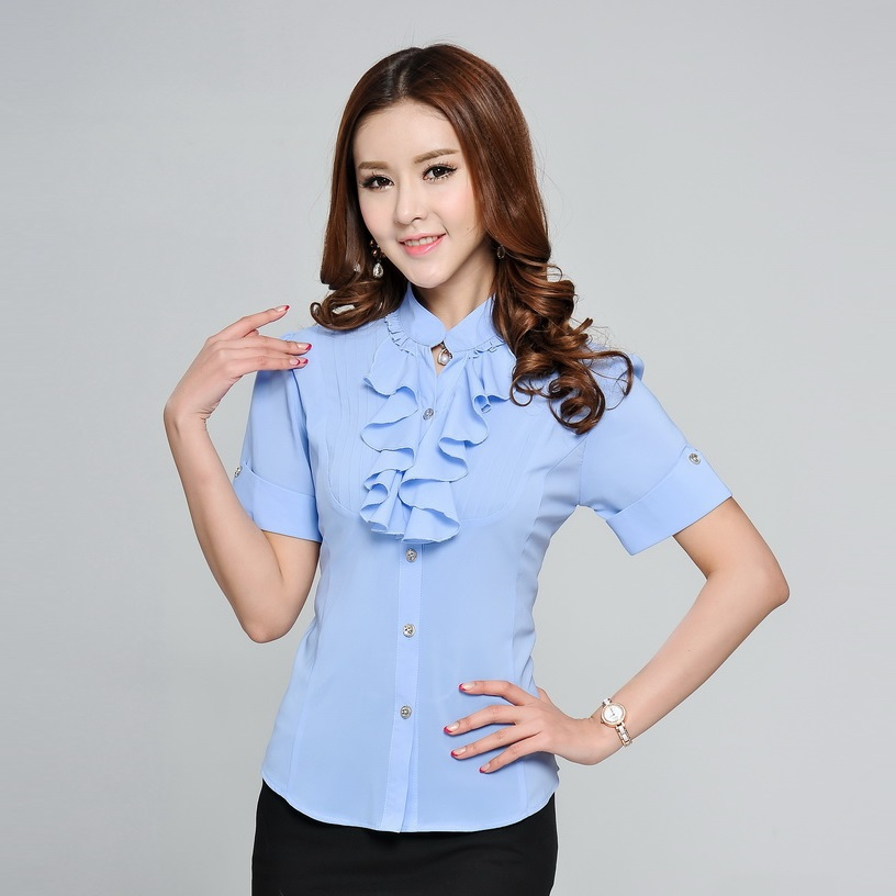 Womens Light Blue Blouse - Blouse Styles