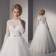 Sexy Lace ball gown China Wedding Dresses 2015 A-Line Lace Wedding Gowns Romantic Plus Size Vintage Cheap vestido de noiva 2014(China (Mainland))