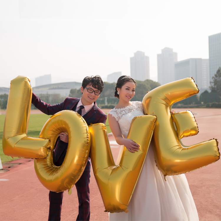 "4PCS/lot 40"" Super Large ""LOVE"" Gold Aluminum Foil Balloon Wedding Festival Decoration Ballons Valentine Anniversary Balloons(China (Mainland))"