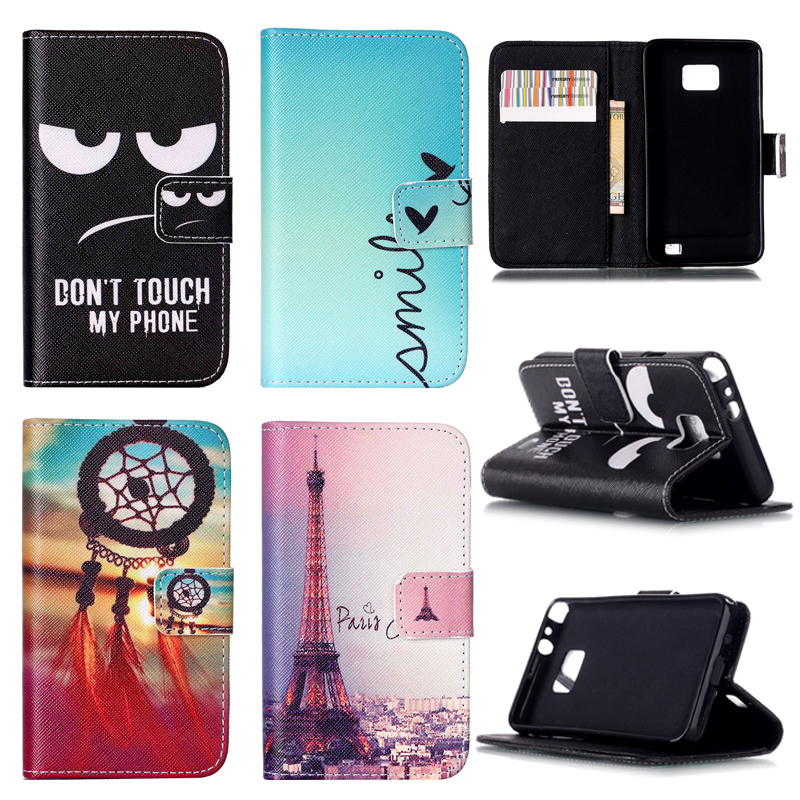 Customized! New Fashion Leather Case For Samsung Galaxy S2 SII i9100 9100 S2 Plus i9105 Stand Cover with wallet and card holder(China (Mainland))