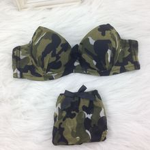 AB Cups Panty Women Bra Kit Army Green Camouflage Lace Hot Sexy Push Up Yong Girl See Thought Cheap Underwear Free Ship UB021