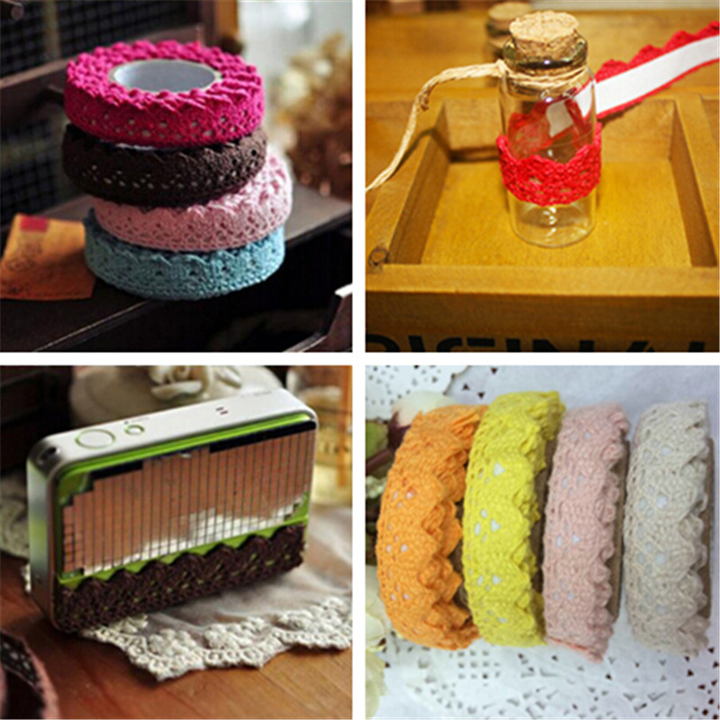 High Quality Cotton Lace Fabric White Crochet Lace Roll Ribbon Knit Adhesive Tape Sticker Craft Decoration Fabric DIY Home Decor(China (Mainland))