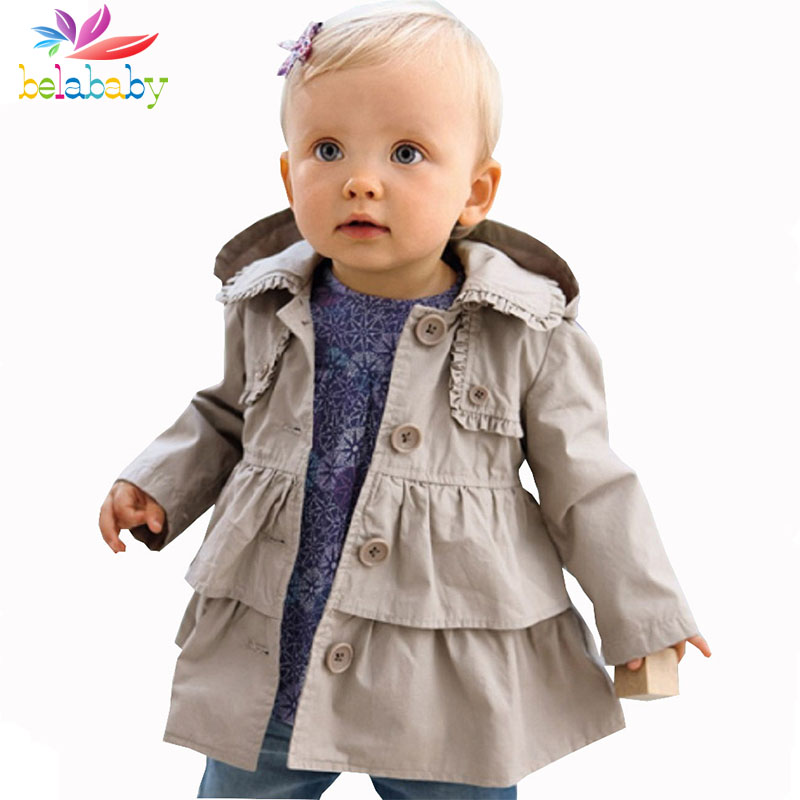 Belababy Baby Girl Warm Trench Coat New Children Autumn Long Sleeve Jacket Kids Casual Hooded Girls Outwear(China (Mainland))