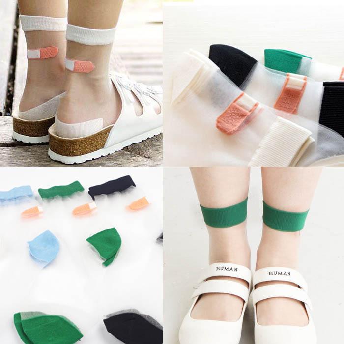 2015 new arrive laddy socks Glass silk stretch band aid OK transparent crystal socks women socks silk socks calcetines mujer(China (Mainland))