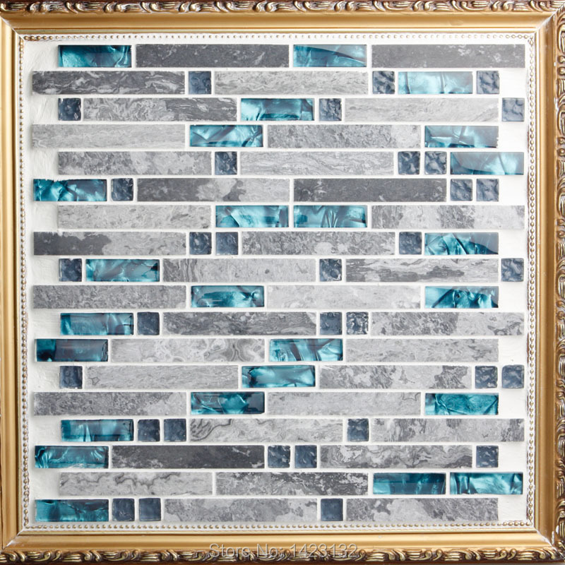 stone mosaic tile patterns blue crystal glass tile