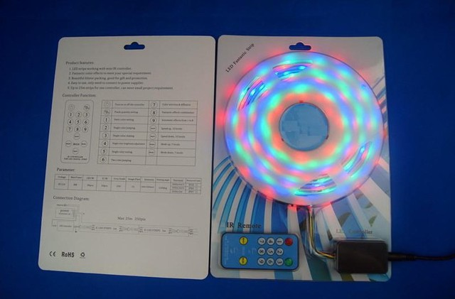 5m 12V WS2811 led dream color strip with IR remote controller;in silicon tube