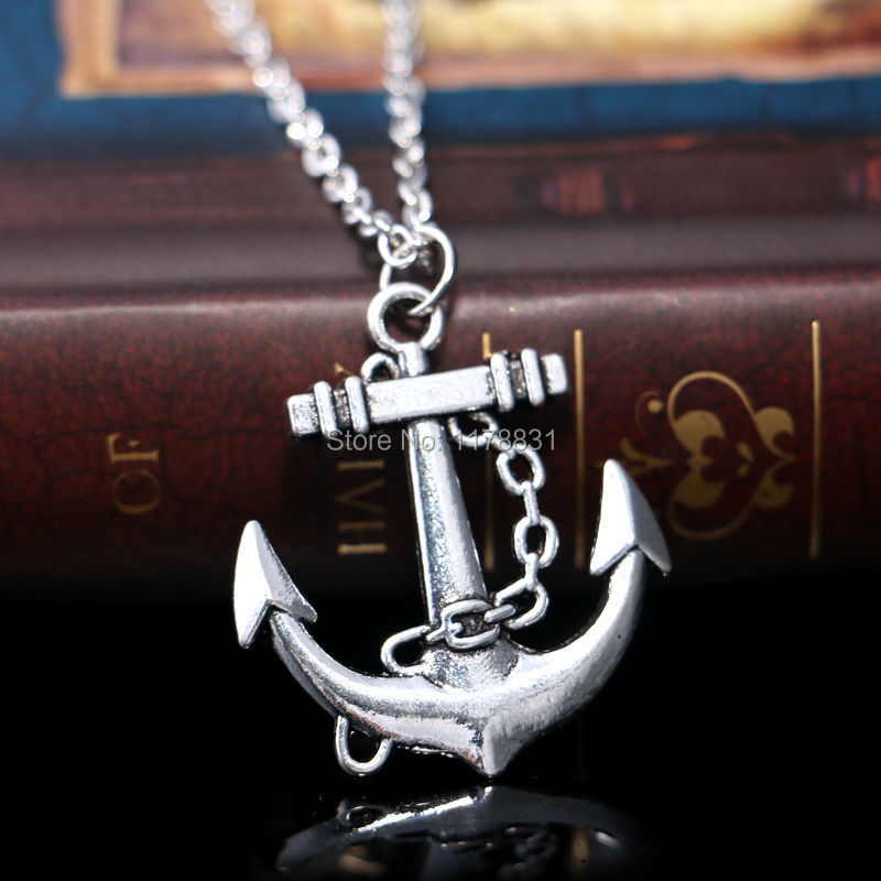 New Design Hawaii Fashion Style Statement Jewelry Silver Nautical Lariat Necklace Anchor Pendants Necklace For Women(China (Mainland))