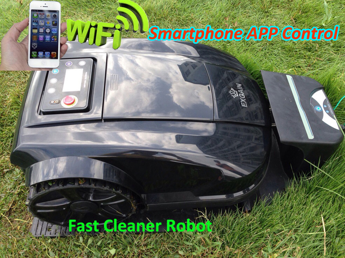 Newest Updated Easy operated Smartphone APP Wifi Wireless Control Robot Automatic Lawn Mower with Water-proofed Charger(China (Mainland))
