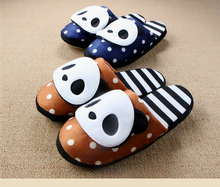 Winter Soft Floor Striped Panda Home Slipper Teddy Bear House Slippers For Women And Men Couples Pantuflas Indoor Pantofole Hot(China (Mainland))
