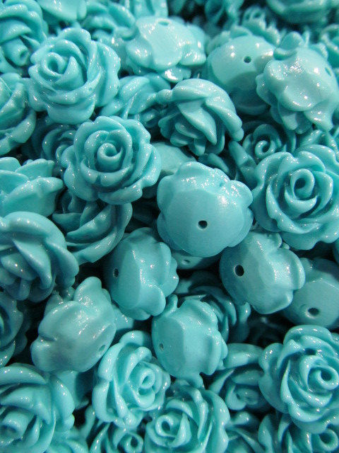 high quality 16mm 100pcs-- resin plastic rose florial petal carved blue turquoise assortmen craft charm jewelry ring ----half dr<br><br>Aliexpress