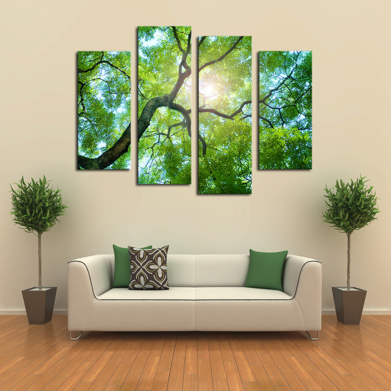 Buy 4 panels no frame green tree painting canvas wall art picture home - Home decoration wholesale paint ...