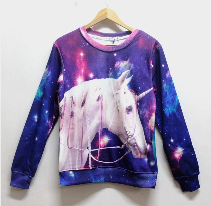 2013 New Winter Fleece Punk Harjuku Unicorn Horse Dog Sun Hamburger 3D Print Crew Neck Sweatshirt Hoodies for Men Boys P05462Одежда и ак�е��уары<br><br><br>Aliexpress