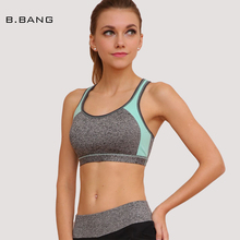 B.BANG Women Yoga Bra Tops for Gym Fitness Workout Training Crop Tops Yoga Shirts for Female Push Up Padded Bra M/L