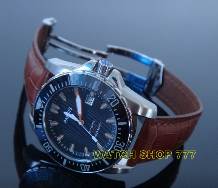 PARNIS 43mm movement steel with automatic mechanical mens watch sapphire glass Luxury watch<br>