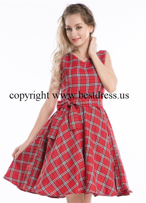 instyles hot r1119 British Retro Swing full circle font b Tartan b font Dress with belt