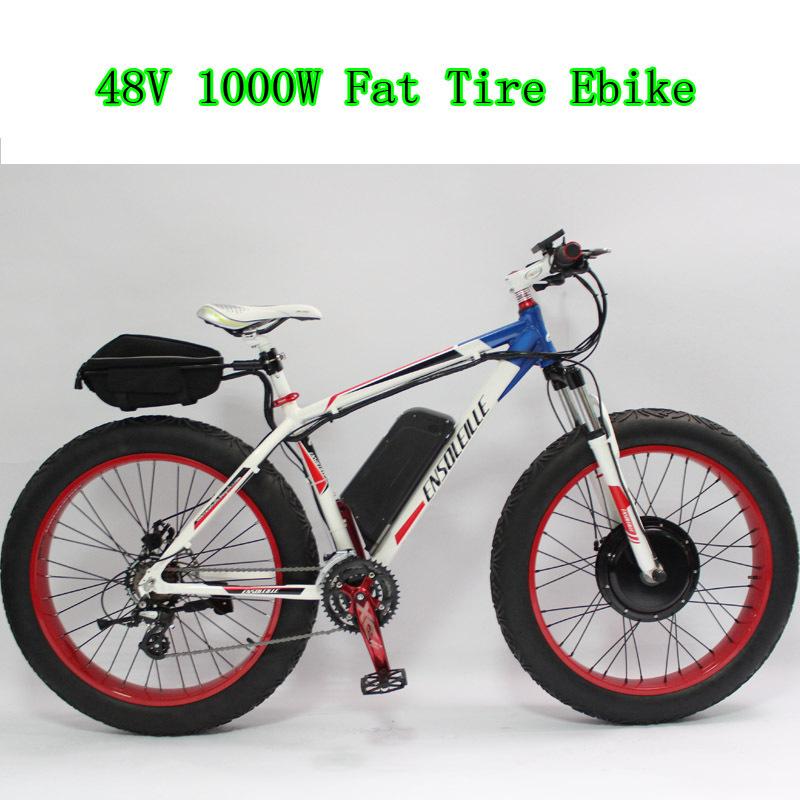 48V 1000W Motor For Fat Tire Electric Bike Bicycle Beach Cruiser Ebike+LCD Display+Hydraulic Disc Brake+48V 12Ah Li-ion Battery