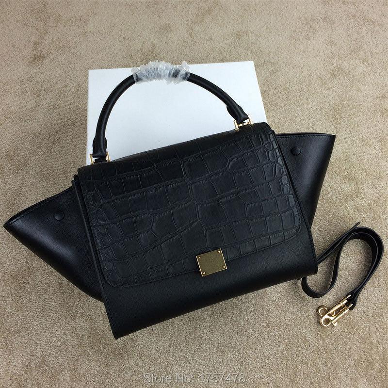 Free Shipping Top Quality Genuine Leather Trapeze bat bags women's shoulder handbag fashion ladies handbag