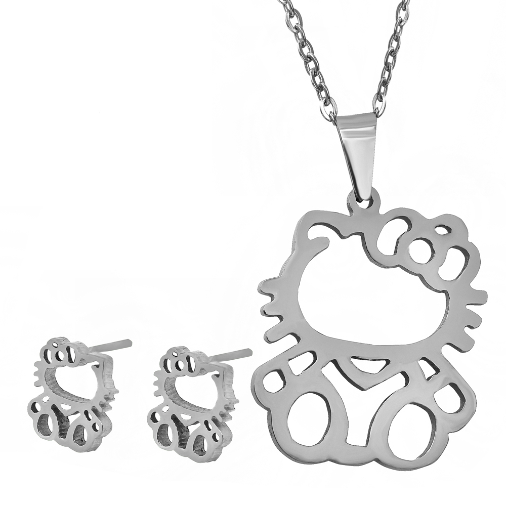 2015 New style listing hot! Latest design fashion cute Hello Kitty stainless steel Jewelry Sets Christmas gift for women(China (Mainland))