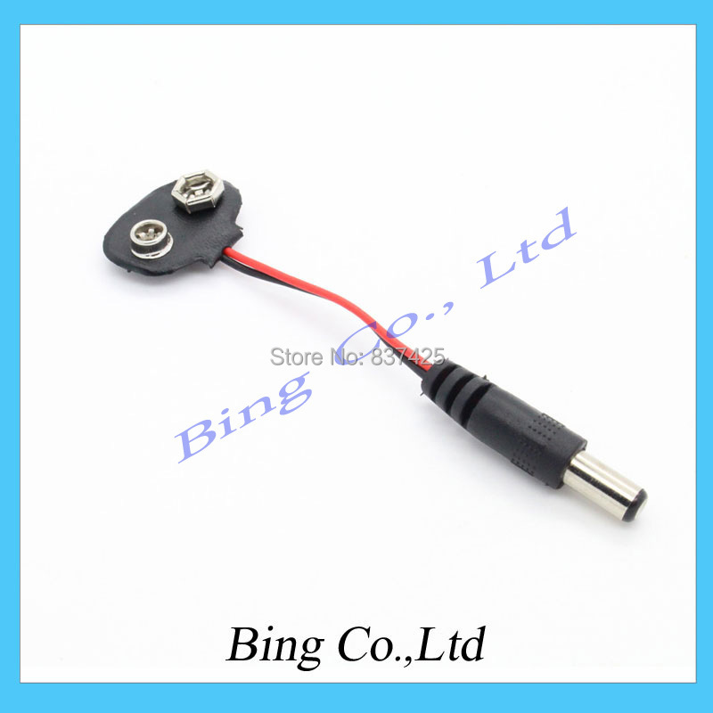 10pcs/lot 2.1 X 5.5mm Male Dc Plug to 9V Battery Clip Snap Accessories For Arduino Free Shipping(China (Mainland))