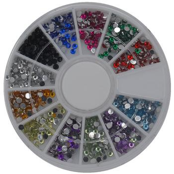 YZWLE 1 Wheel Biutee 12 Colors Nail Art Rhinestones Acrylic Nail Decoration 2mm For Nails UV Gel Iphone And laptop DIY