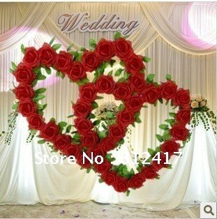 top rated double heart artificial flower wreath wedding wedding backdrop decoration in. Black Bedroom Furniture Sets. Home Design Ideas
