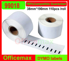 9*Rolls Free Shiping Dymo 99018 Label Compatible Etiketten Barcode Sticker Thermal Printer Label 38x190mm for LW450Turbo