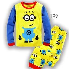 2016 Children's pajamas set Spring&autumn minions cartoon baby boy clothing set  100% cotton Boy's pajamas Children Sleepwear(China (Mainland))