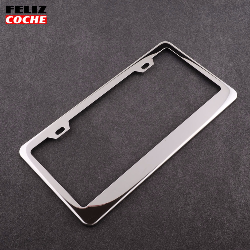 FELIZCOCHE 2Pcs/Lot Car Chrome Plate Stainless Steel Metal Silver License Frame Screw Caps Tag Cover Hot Sale New Design A2117(China (Mainland))