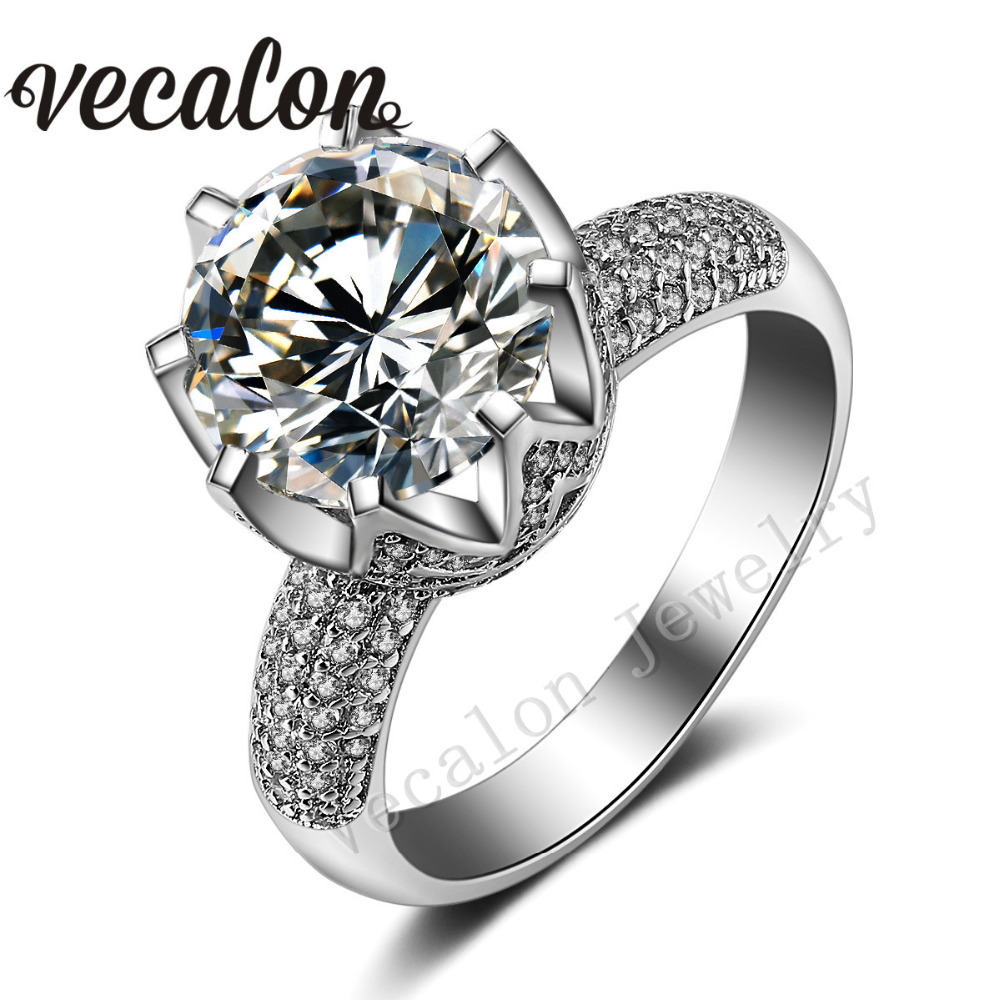 Vecalon luxury Design Crown wedding ring set for women Round cut 6ct Simulated diamond Cz 925 Sterling Silver Female Band ring(China (Mainland))