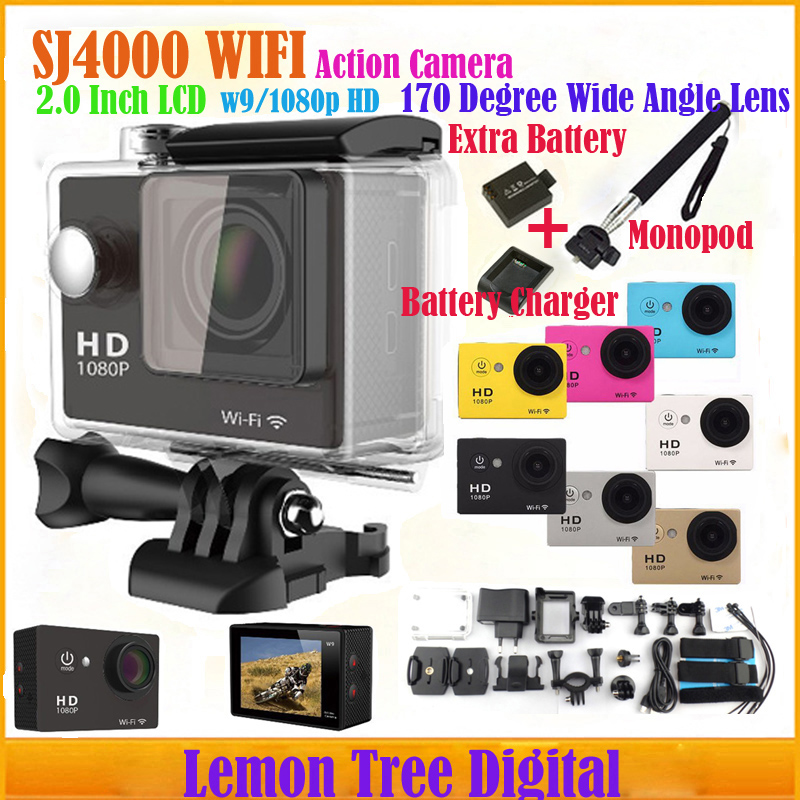 SJ4000 W9 WiFi Action Camera 1080P Full HD 12MP Diving 30M Waterproof Sport Camera Go Pro Style Car DVR+Battery+Charger+Monopod<br><br>Aliexpress